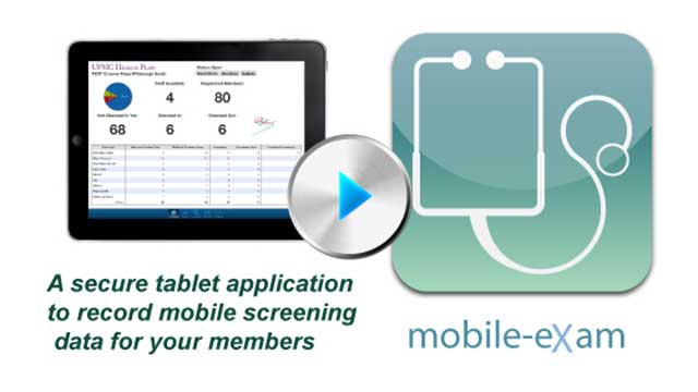 secure tablet application to record mobile screening data for members